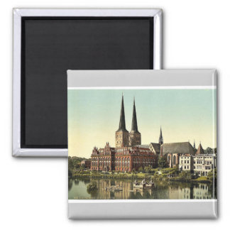 The cathedral and museum, Lubeck, Germany rare Pho 2 Inch Square Magnet