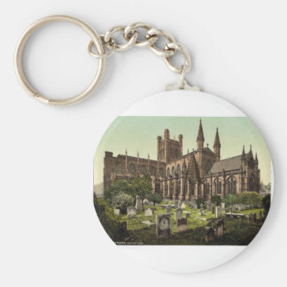 The cathedral, Chester, England vintage Photochrom Keychain