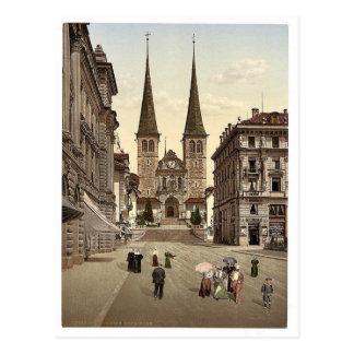 The cathedral, Lucerne, Switzerland vintage Photoc Postcard