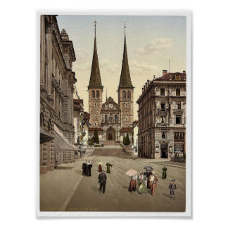 The cathedral, Lucerne, Switzerland vintage Photoc Posters