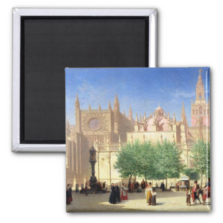 The Cathedral of Seville 2 Inch Square Magnet