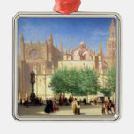 The Cathedral of Seville Square Metal Christmas Ornament