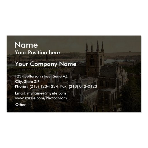The cathedral, Rochester, England rare Photochrom Business Card Template