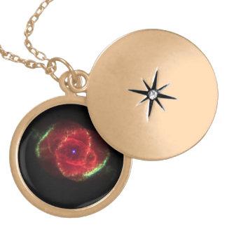 The Cat's Eye Nebula Round Locket Necklace