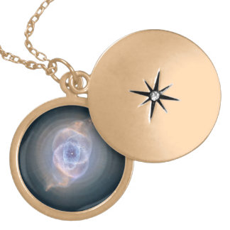 The Cat's Eye Nebula's Intricate Layers Round Locket Necklace