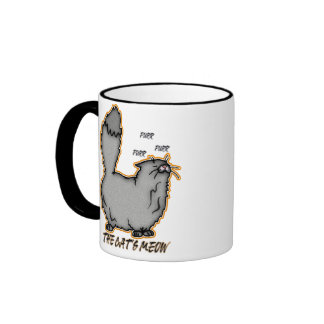 The Cat's Meow Gift Mug, Cute Snooty Cat Ringer Coffee Mug