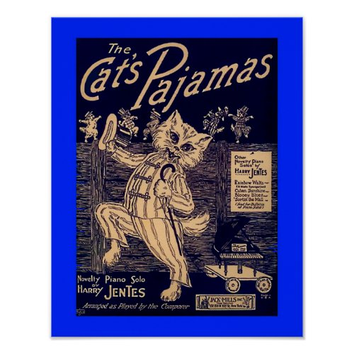 The Cat's Pajamas Vintage Sheet Music Cover Copy