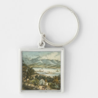 The Catskill Mountains Silver-Colored Square Keychain