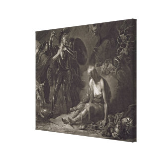 The Cave of Despair, from Spenser, engraved by Val Canvas Print