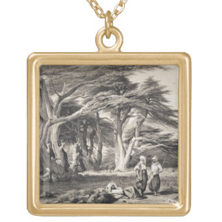 The Cedars of Lebanon, engraved by Freeman (sepia Gold Plated Necklace
