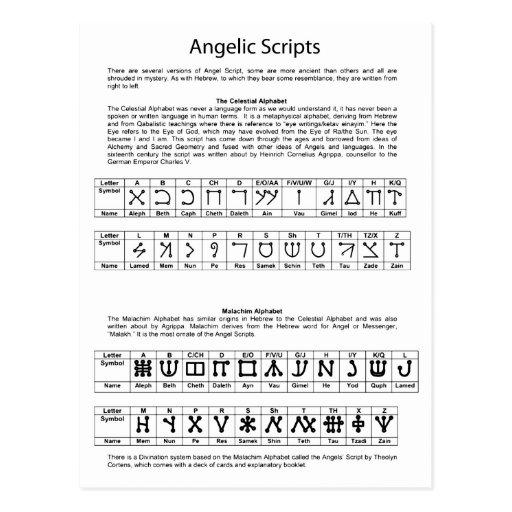 The Celestial Alphabet Angelic Script Chart Postcard
