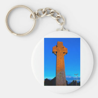 The Celtic Cross Basic Round Button Keychain