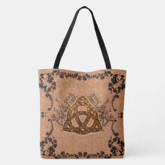 The celtic sign with roses tote bag