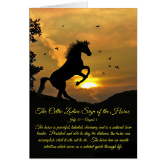 The Celtic Zodiac sign of the Horse Leo Birthday Card
