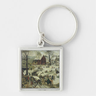 The Census at Bethlehem 2 Silver-Colored Square Keychain