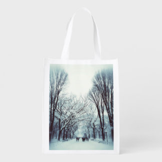 The Central Park Mall In Winter Grocery Bag