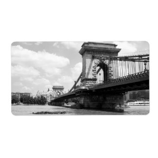 The Chain Bridge in Budapest, Hungary Label