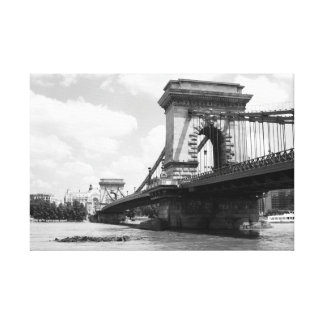 The Chain Bridge over the Danube River in Budapest Canvas Print
