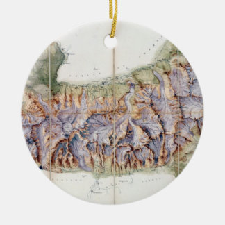 The Chain of Mont Blanc, from an actual survey in Ceramic Ornament