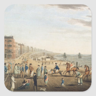 The Chain Pier at Brighton with Characters (etchin Square Sticker