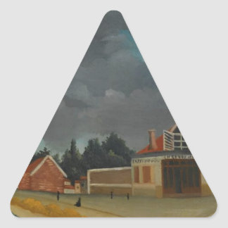 The chair factory at Alfortville by Henri Rousseau Triangle Sticker