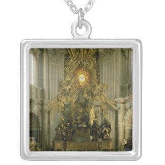 The chair of St. Peter, 1665 Silver Plated Necklace