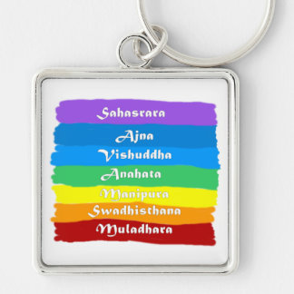 The Chakra Rainbow Silver-Colored Square Keychain