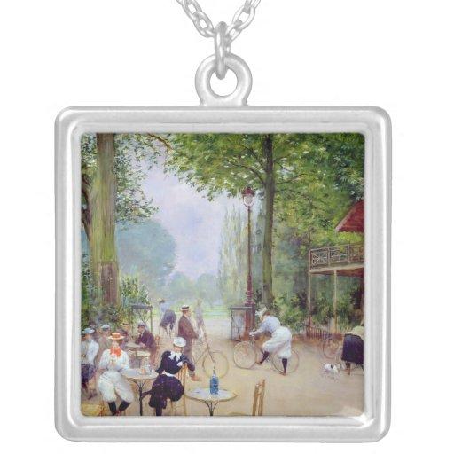The Chalet du Cycle in the Bois de Boulogne Square Pendant Necklace