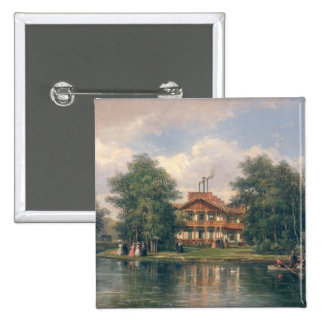 The Chalet with  Yellow Door in Bois de 2 Inch Square Button