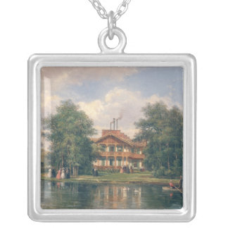 The Chalet with  Yellow Door in Bois de Silver Plated Necklace