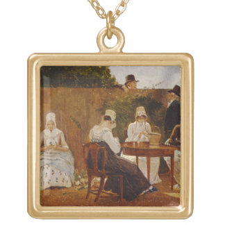 The Chalon Family in their London Town Garden, ear Necklaces