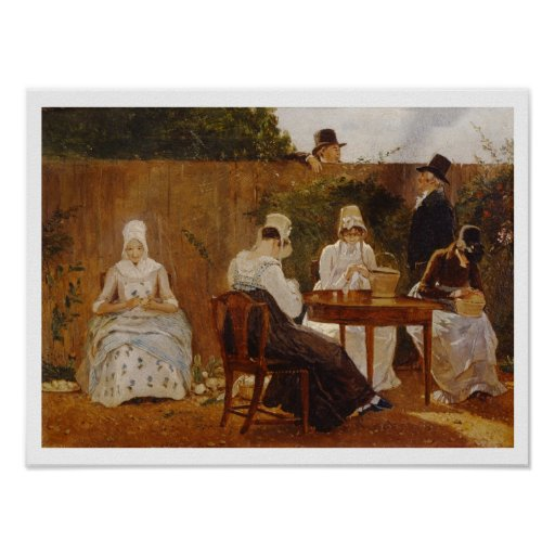 The Chalon Family in their London Town Garden, ear Poster