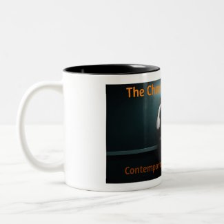 The Chamber Magazine Girl in Elevator Two-Tone Coffee Mug