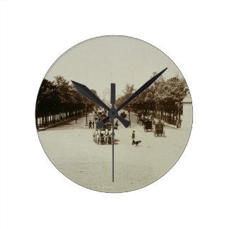 The Champs Elysees, Paris (sepia photo) Round Clock