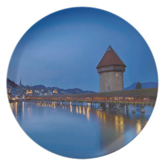 The Chapel Bridge in Lucerne Dinner Plate