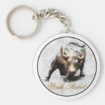 'The Charging Bull' - New York- Wall Street Basic Round Button Keychain