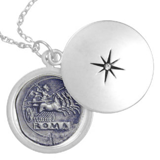 """THE CHARIOTEER"" ANCIENT ROMAN COIN ROUND LOCKET NECKLACE"