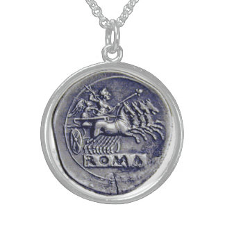 """THE CHARIOTEER"" ANCIENT ROMAN COIN ROUND PENDANT NECKLACE"