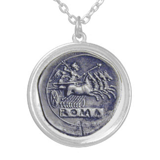 """THE CHARIOTEER"" ANCIENT ROMAN COIN SILVER PLATED NECKLACE"