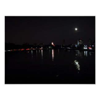 The Charles River at Night Poster