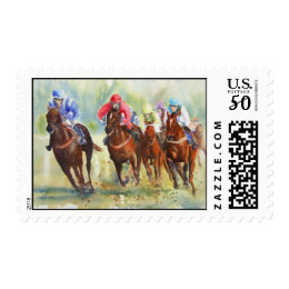 The Chase horse racing postage stamp