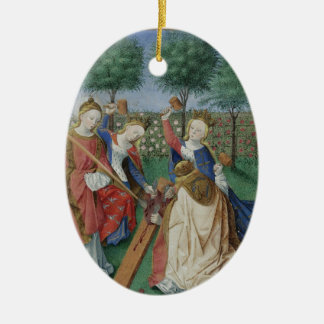 The Chastisement of the Heart Double-Sided Oval Ceramic Christmas Ornament