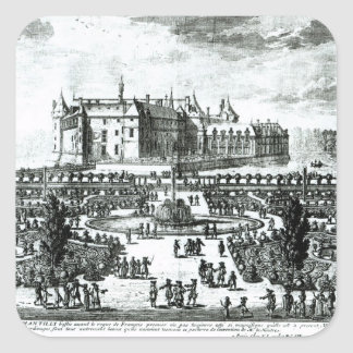 The Chateau de Chantilly and the gardens designed Square Sticker