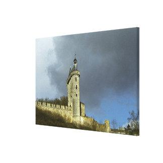 The Chateau de Chinon castletheis on a hilltop Canvas Print