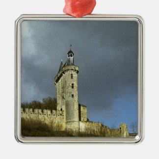 The Chateau de Chinon castletheis on a hilltop Metal Ornament