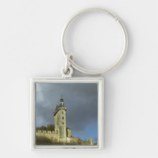 The Chateau de Chinon castletheis on a hilltop Silver-Colored Square Keychain
