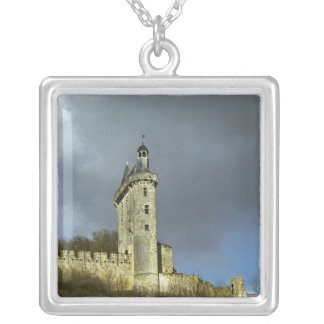 The Chateau de Chinon castletheis on a hilltop Silver Plated Necklace