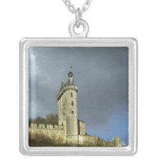 The Chateau de Chinon castletheis on a hilltop Square Pendant Necklace