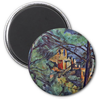 """The Chateau Noir """"Behind Trees"""" By Paul Cézanne 2 Inch Round Magnet"""