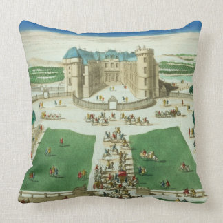 The Chateau Rambouillet, engraved by Antoine Aveli Throw Pillow